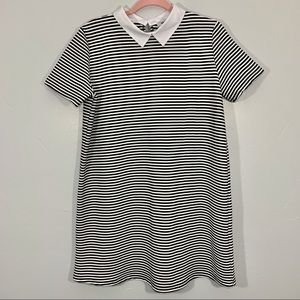 Zara | Black White Striped Collared Tee Dress